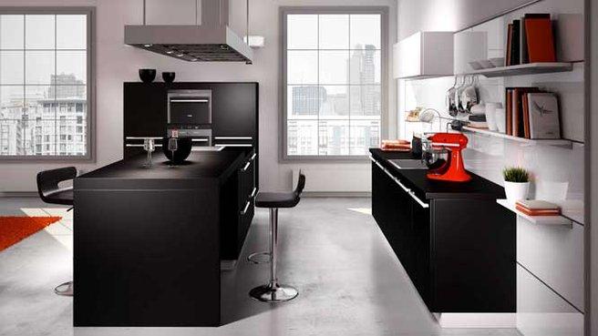 Cuisine noire plan de travail gris - Plan de travail cuisine gris ...