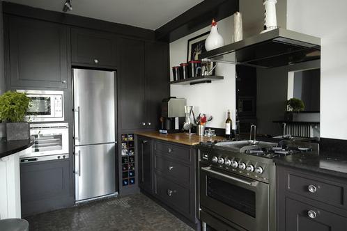 cuisine noire plan de travail gris. Black Bedroom Furniture Sets. Home Design Ideas