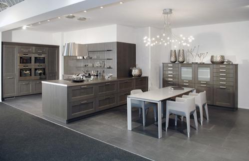 cuisine noire sol gris. Black Bedroom Furniture Sets. Home Design Ideas