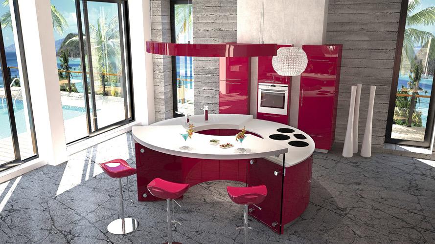 Cuisine rouge framboise for Deco cuisine framboise