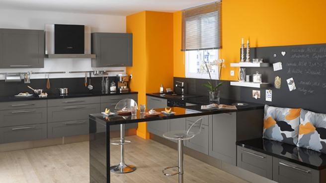 cuisine rouge orange jaune. Black Bedroom Furniture Sets. Home Design Ideas