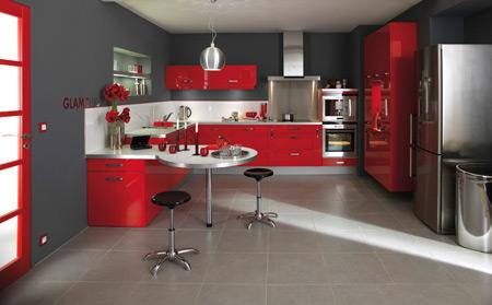 Cuisine rouge plan de travail blanc - Cuisine gris et blanc rouge ...