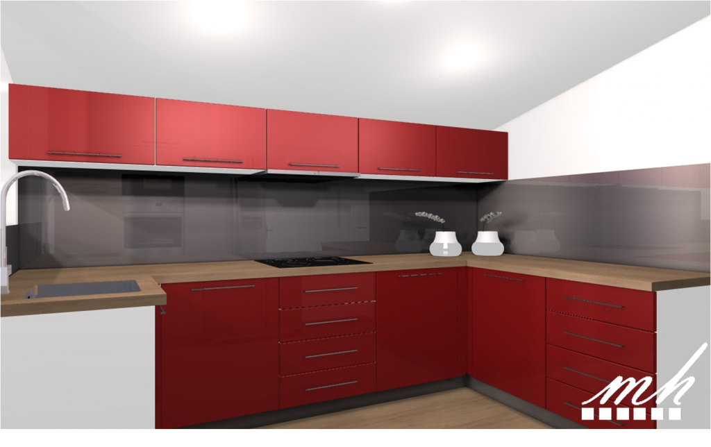 cuisine rouge plan de travail bois. Black Bedroom Furniture Sets. Home Design Ideas