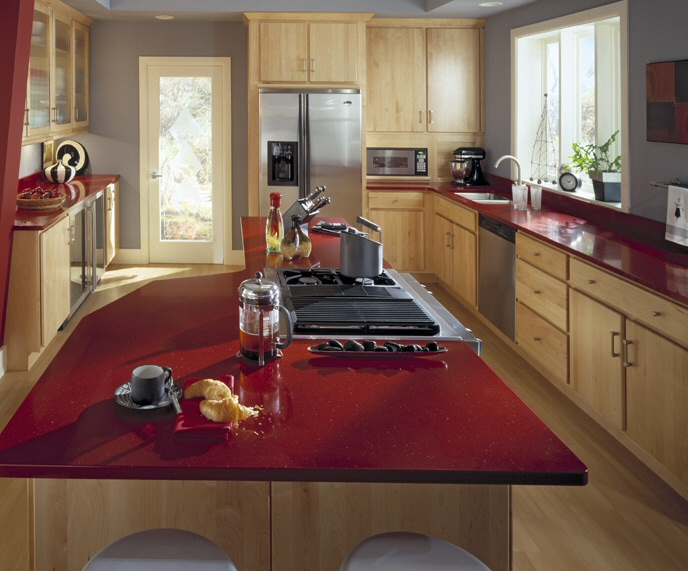 Beautiful Cuisine Rouge Plan De Travail Bois Ideas - Design Trends ...