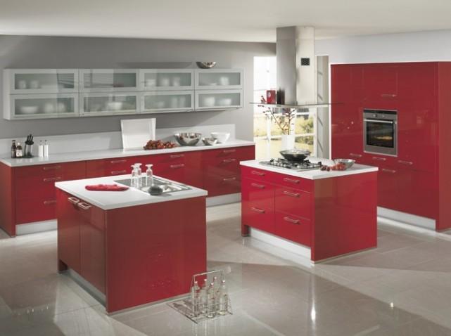 cuisine rouge sol gris