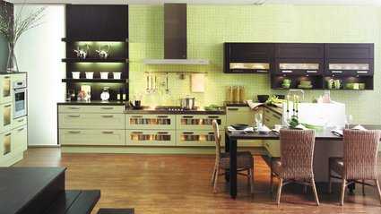 cuisine taupe vert anis. Black Bedroom Furniture Sets. Home Design Ideas