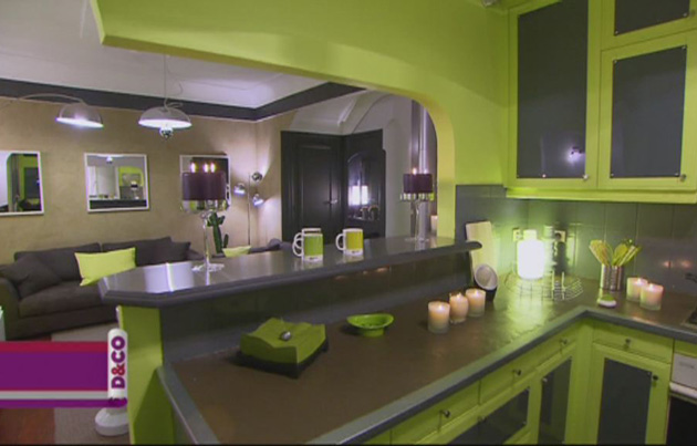 photo decoration cuisine vert anis et gris
