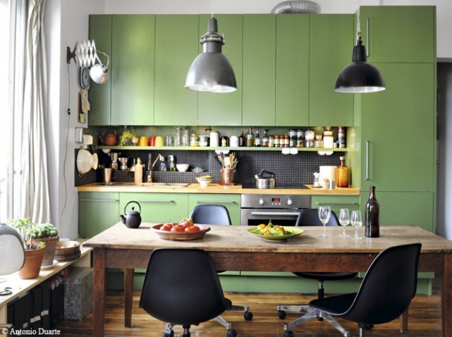 Photo decoration cuisine vert de gris for Cuisine verte