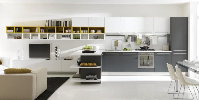 Deco cuisine gris et blanc for Cuisine grise et blanc