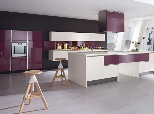 idée deco cuisine noir et violet