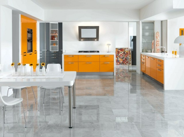 deco cuisine orange blanc