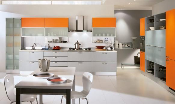 jolie deco cuisine orange et gris
