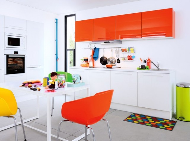 deco cuisine orange et marron