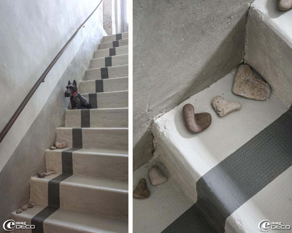 Deco escalier peint for Peinture sur carrelage exterieur