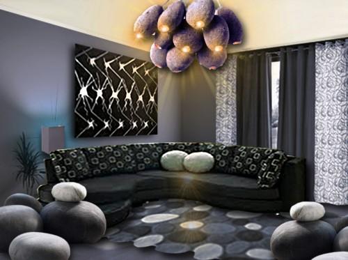 Jolie deco salon avec canape violet