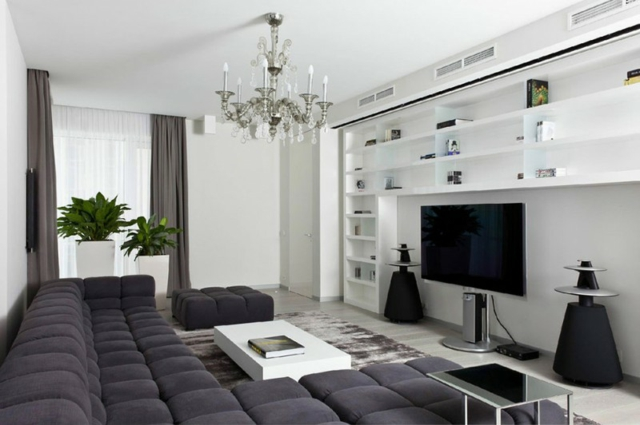 deco salon blanc et gris. Black Bedroom Furniture Sets. Home Design Ideas