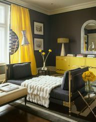 deco salon jaune et noir