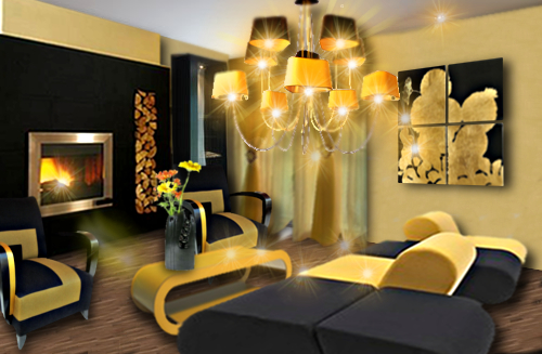 deco salon jaune et noir. Black Bedroom Furniture Sets. Home Design Ideas