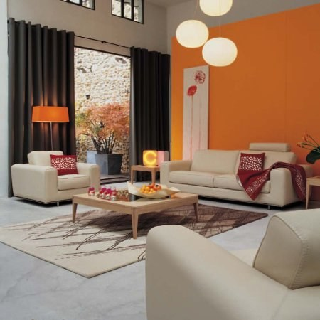 d co salon taupe et orange. Black Bedroom Furniture Sets. Home Design Ideas