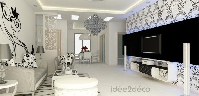 Deco salon papier peint - Idee papier peint salon ...