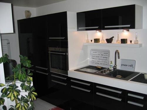 Photo decoration cuisine en noir - Cuisine repeinte en noir ...