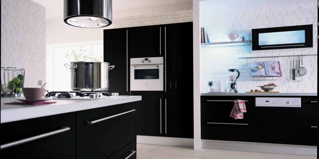 cuisine hygena noir et blanc. Black Bedroom Furniture Sets. Home Design Ideas