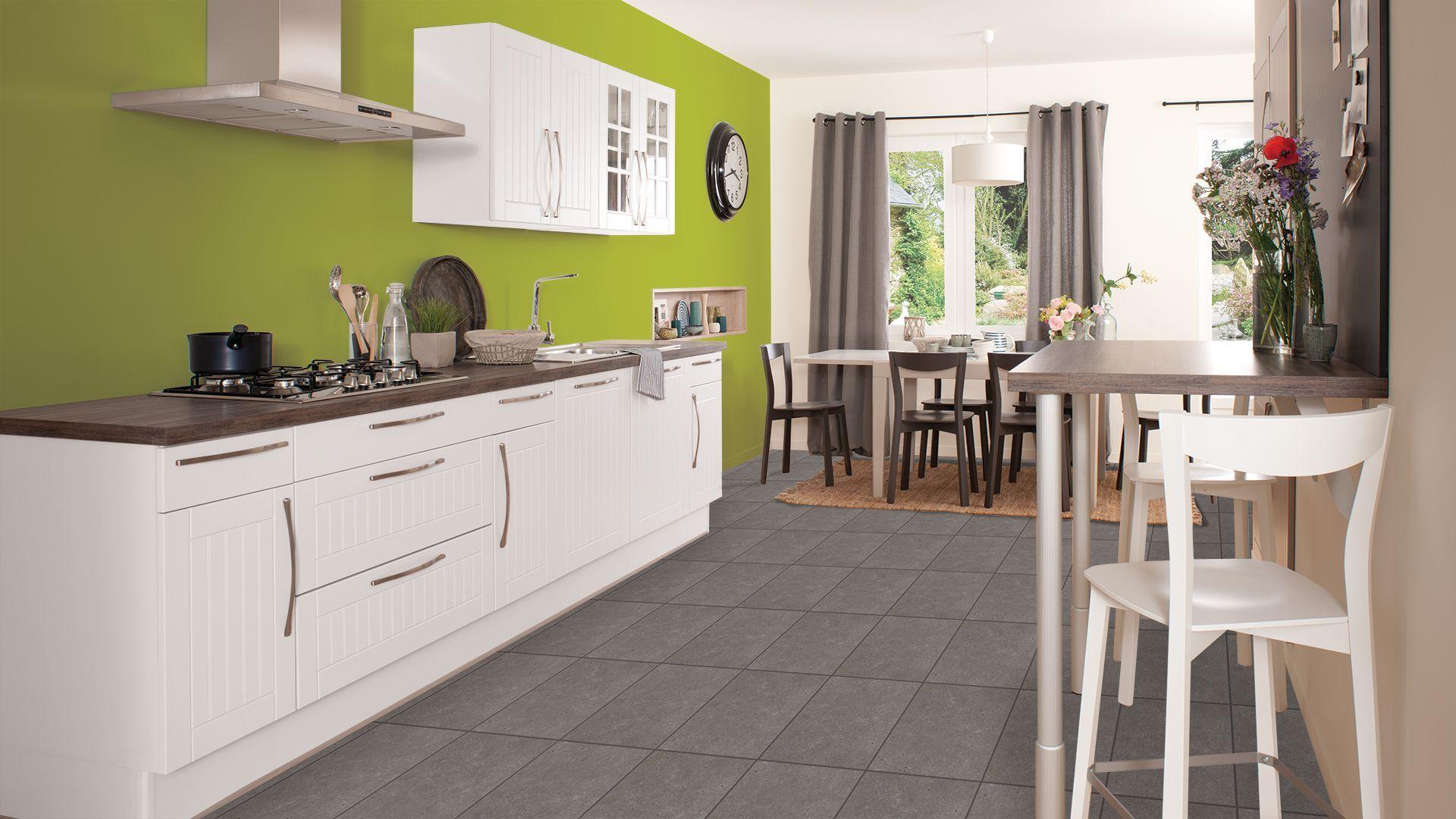 Photo cuisine mur vert anis
