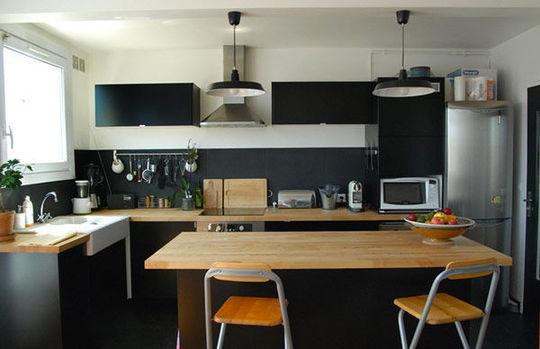 Cuisine noir bois - Deco cuisine noir ...