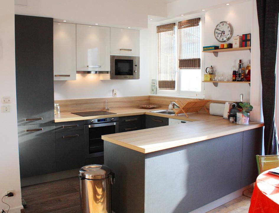 cuisine noir laque plan de travail bois. Black Bedroom Furniture Sets. Home Design Ideas