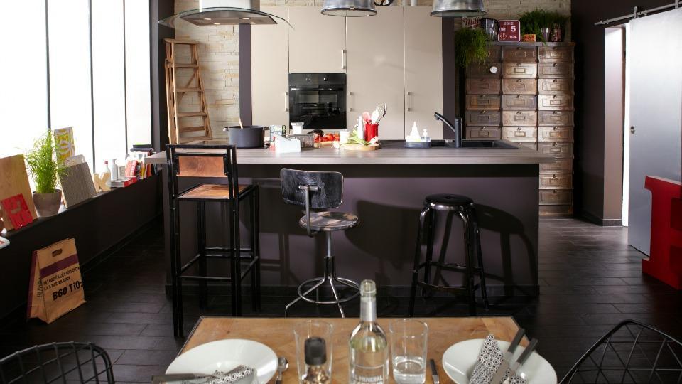 Célèbre Photo cuisine noir mat leroy merlin RL12