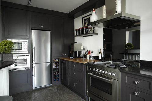 cuisine noir mur gris. Black Bedroom Furniture Sets. Home Design Ideas