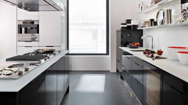 cuisine noir plan de travail blanc