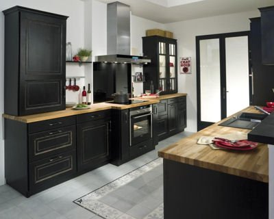 cuisine noir retro. Black Bedroom Furniture Sets. Home Design Ideas