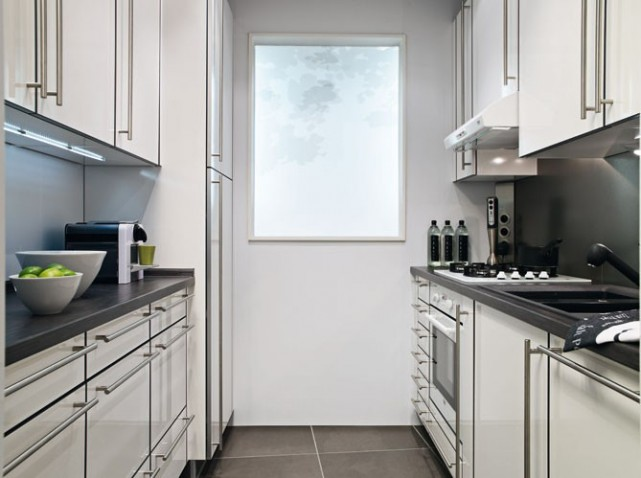 Cuisine noire petit espace for Idee cuisine petit espace