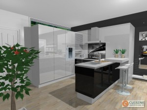 Cuisine noire petit espace - Cuisine design petit espace ...