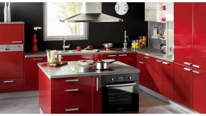 cuisine rouge avec ilot central. Black Bedroom Furniture Sets. Home Design Ideas