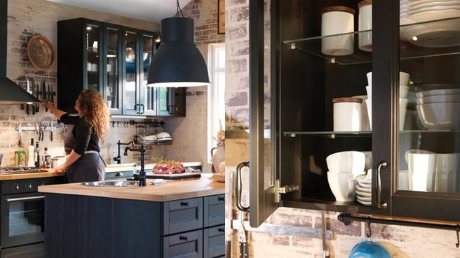 cuisine rouge brique. Black Bedroom Furniture Sets. Home Design Ideas