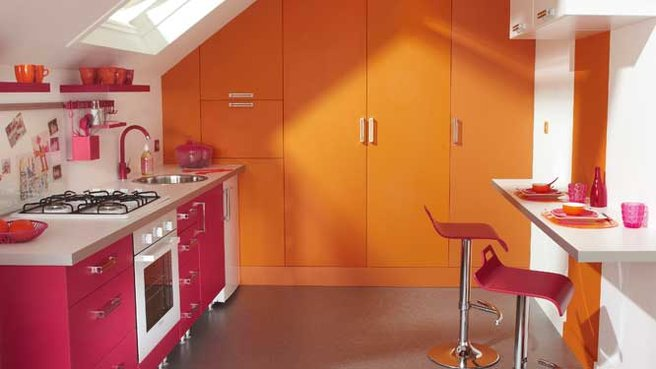 cuisine rouge et orange. Black Bedroom Furniture Sets. Home Design Ideas