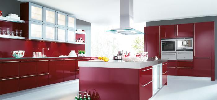 cuisine rouge ilot central. Black Bedroom Furniture Sets. Home Design Ideas