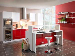 Cuisine rouge ilot central - Petit ilot central de cuisine ...
