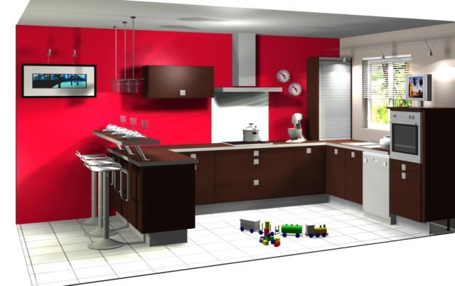 Repeindre Meuble Chambre Bebe : aménagement cuisine rouge mur couleur