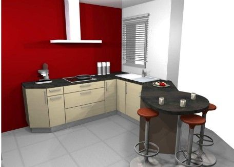 cuisine rouge mur couleur. Black Bedroom Furniture Sets. Home Design Ideas