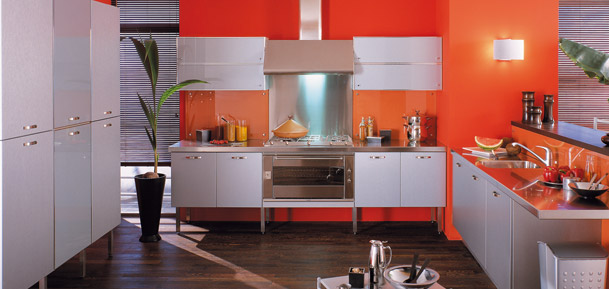 cuisine orange et gris - cuisine rouge orange