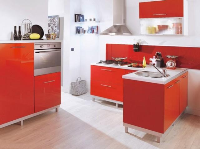 Chambre De Jeune Fille Ikea : exemple cuisine rouge orange