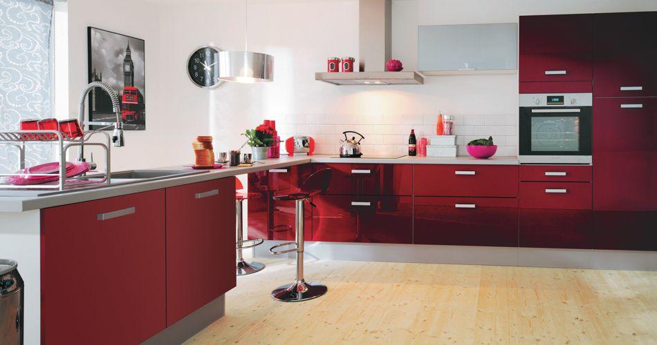 Cuisine Vintage Blanche Kidkraft 53208 : idée cuisine rouge rubis source de la photo http www but cuisines fr
