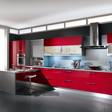 Cuisine twist rouge lapeyre for Modele cuisine rouge