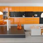 cuisine vert pistache et orange
