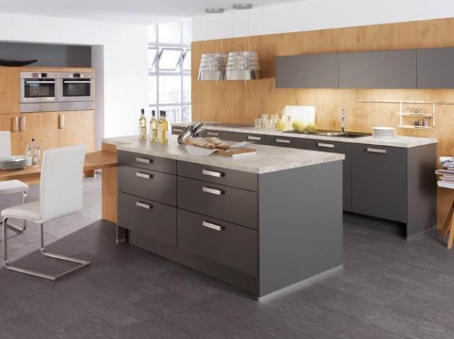 Deco cuisine grise et beige - Photo cuisine grise et bois ...