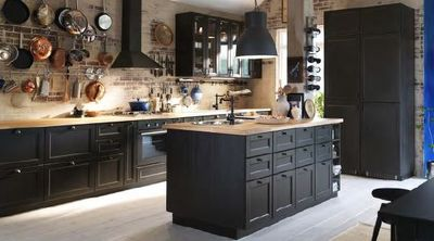 cuisine ikea noir et bois. Black Bedroom Furniture Sets. Home Design Ideas