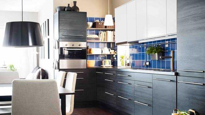 cuisine noir laqu et bois cuisine blanc et bois ikea la crme des cuisines design - Cuisine Marron Ikea
